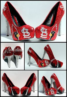 Here is another pair ladies....Swarovski Crystal Shoes St Louis Cardinals by WickedAddiction, $450.00