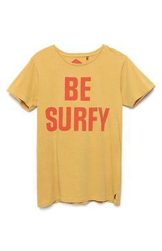 A PacSun.com Online Exclusive! PacSun presents The Critical Slide Society Don't T-Shirt for men. This simple men's t-shirt supplies some surf style with a bold red text reading, 'Be Surfy' against the yellow body.   	Solid tee with The Critical Slide Society graphic on front 	TCSS logo loop on bottom 	Crew neck 	Short sleeves 	Machine washable 	100% cotton 	Imported