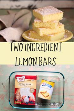 2 Ingredient Lemon Bars That's right! Just 2 ingredients to these luscious lemon bars. - 2 Ingredient Lemon Bars are the easiest dessert ever to make. Angel Cake, 2 Ingredient Cakes, Two Ingredient Lemon Bars Recipe, Easy Few Ingredient Desserts, Two Ingredient Cookies, 2 Ingredient Recipes, Dump Cake Recipes, Angle Food Cake Recipes, Dump Cakes