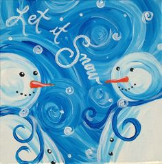 Snowman Paintings On Canvas Seasonal party arty paint parties