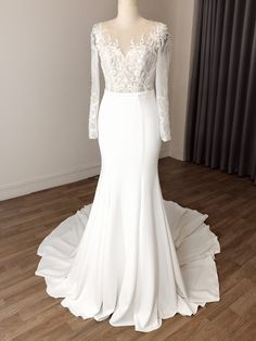 Lace Wedding Dress With Sleeves, Chiffon Dress Long, Custom Wedding Dress, Modest Wedding Dresses, Wedding Dress Styles, Bridal Dresses, Dresses With Sleeves, Marry That Girl, Vine Trellis