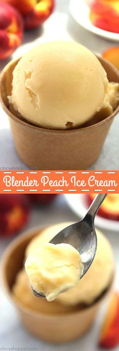Blender Peach Ice Cream - so simple to make. You can make this delicious cold treat with fresh or frozen peaches right in your kitchen blender. So easy!
