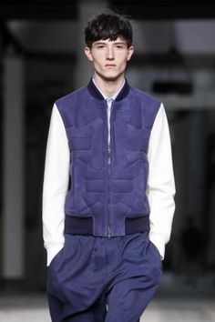 Neil Barrett Menswear Spring Summer 2013 Milan | Color blocked with white leather sleeves this suede quilted bomber is so killer!