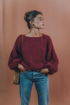 Wool and knit sweater in MOHAIR sweater / boho sweater / slouchy sweater / scandinavian / thick sweater / oversize / sustainable gift / sustainable fashion Slouchy Sweater, Mohair Sweater, Wool Sweaters, Chunky Sweaters, Knitting Sweaters, Winter Sweaters, Knit Cardigan, Boho Pullover, Pullover Outfit