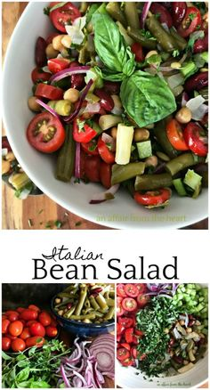 Italian Bean Salad - An Affair from the Heart -- Four bean salad gets an Italian makeover with the simple addition of some fresh herbs, veggies and tomatoes. @paisleyfarmfood