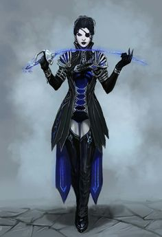 She looks sexy deadly with that interesting beautiful blue blade!