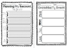 Australian Curriculum. Recount writing for Pre-Primary, Year One and Year Two.  21 Pages and 8 differentiated versions of personal recount writing planners.