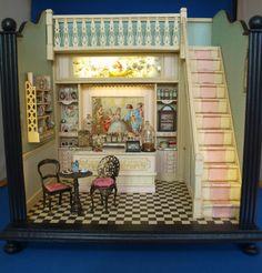 1/12 escala diorama miniatura de una tienda de dulces.