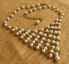 White Glass Pearl and Antique Brass Bib Necklace by ambientzebra