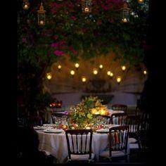 Candlelight al fresco Garden Deco, Garden Cafe, Garden Theme, Outdoor Dining, Outdoor Decor, Outdoor Lighting, Lighting Ideas, Candle Lighting, Backyard Lighting