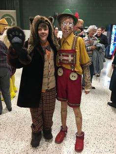 FCHS Shrek - papa bear (made by costume crew from costume closet and thrift store finds) and Pinocchio (made by parent using thrift store finds and paint). Pinocchio boots are old Uggs cut down and spray painted red.