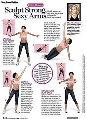 A dozen Cosmo workouts for specific problem areas. I used to do these arm exercises at work, they're great!
