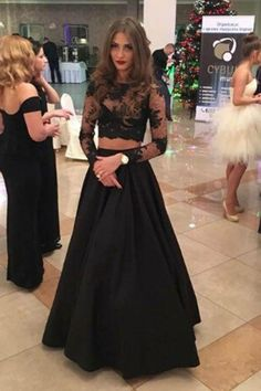 Charming Two Piece A-line Lace Prom Dress, Long Sleeves Black Evening Dress,Formal Gowns