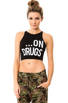 Hello Love On Drugs Crop Top: All we wanna do is party, party, party! Fitted crop top. Hand wash XS $42.00