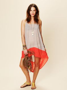 Free People Hi Low Color Block Dress