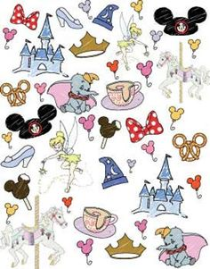 Pre-order Disney World Favorite Things Doodle fabric - Fabric Crafts DIY Disney Collage, Disney Doodles, Disney Love, Disney Art, Disney Pixar, Walt Disney, Tumblr Stickers, Cute Stickers, Disney Tattoos