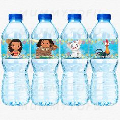 Moana Birthday Party Water Bottle Labels  Moana Maui by mummytofu