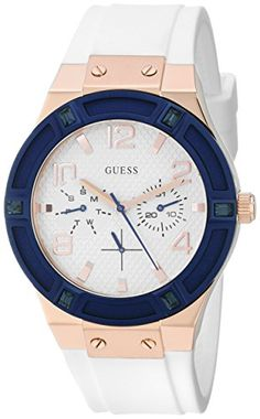 d962e6c07fc2 Đồng hồ GUESS Women s Sporty Rose Gold-Tone Stainless Steel Watch with Multi-function  Dial and White Strap Buckle