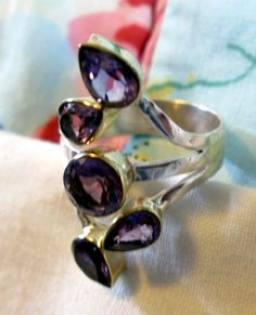 RING  FIVE AMETHYST Hammered Band  Two Tone  925  by MOONCHILD111 https://www.etsy.com/shop/MOONCHILD111