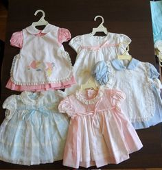 """"""""""" Items similar to Vintage Wholesale Lot- Baby Girls Dresses 12 month- New, never worn on Etsy """""""" Vintage baby girl dresses from the – """""""" Vintage Baby Dresses, Vintage Baby Clothes, Baby Girl Dresses, Vintage Outfits, Baby Girls, 1960s Dresses, Baby Dress Patterns, Baby Clothes Patterns, Doll Clothes"""