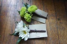 Sugar Bee Flowers: White, green and yellow wedding Boutineers