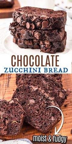 Double Chocolate Zucchini Bread. Have your veggies and your chocolate too. This delicious extra fudgy recipe makes two freezer friendly loaves of zucchini bread. Filled with chocolate chips and cocoa, you can serve it for dessert, breakfast or an afternoon snack. New Dessert Recipe, Best Dessert Recipes, Sweets Recipes, Fun Desserts, Brunch Recipes, Best Chocolate Desserts, Chocolate Treats, Chocolate Chips, Cocoa Bread