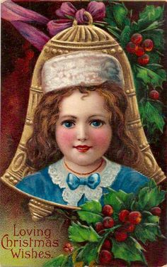 How to Safely Store Old Postcards: Beautiful Child Vintage Postcard Sending Loving Christmas Wishes