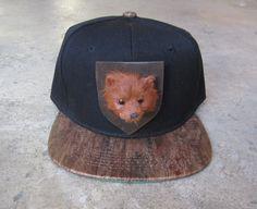 ROJAS bear taxidermy wood bill snapback hat.