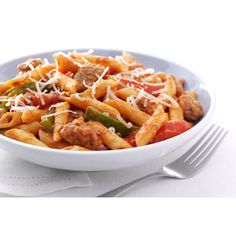 Zesty Penne, Sausage and Peppers. substitute whole wheat penne and less fa. - Now You're Cooking! Sausage And Peppers Pasta, Sausage Pasta Recipes, Pastas Recipes, Seafood Recipes, Cooking Recipes, Healthy Recipes, Recipies, Spicy Sausage, Quick Recipes