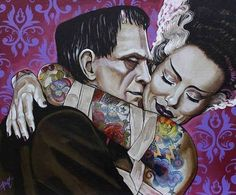 Frankenstein and his wife love, tattoo