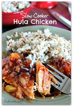 A forkful of moist, tender and delicious slow cooker Hula chicken. Bakerette.com