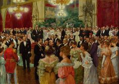 Wilhelm GAUSE Germany Vienna Municipal Ball 1904 watercolour and oil on cardboard x cm Wien Museum, Vienna Commissioned by the City of Vienna, 1904 Dinner Gowns, Palais Galliera, Jamaica Wedding, Social Art, Gibson Girl, Shall We Dance, Edwardian Fashion, Edwardian Era, Girl Guides