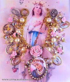 Catholic Virgin Mary OL of la Salette Cameo, Saints Religious Medals Bracelet www.letyscreations.com