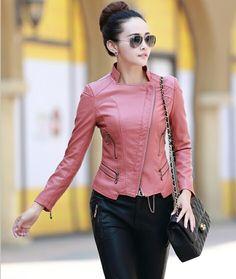 Jaqueta de couro mulheres 2016 nova moda casaco de couro curto fino motocicleta roupas de couro feminino outerwear em Couro e Camurça de Roupas e Acessórios no AliExpress.com   Alibaba Group