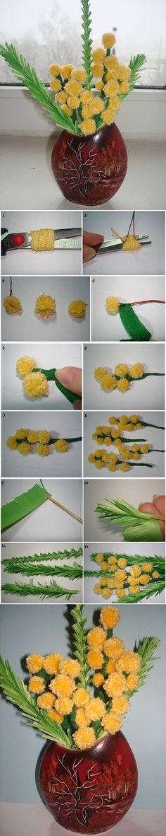 DIY Mimosa Flower Bouquet