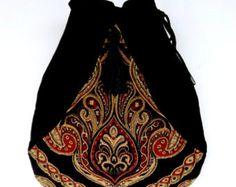 Boho franja ladrillo rojo bolsillo bolso Boho tapiz Floral