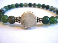 Moss Green Agate Meditation Bracelet by peaceofminejewelry on Etsy, $18.00