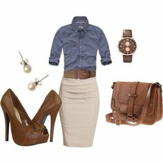 Take a look at the best business casual dresses for women in the photos below and get ideas for your work outfits! This stylish outfit would look great any day of the week at the office. Mode Outfits, Fall Outfits, Casual Outfits, Outfits 2016, Summer Outfits, Casual Attire, Denim Outfits, Casual Clothes, Fashion Mode