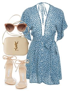 """Sin título #3665"" by camilae97 ❤ liked on Polyvore featuring Faithfull, Yves Saint Laurent, Manolo Blahnik and Chloé"