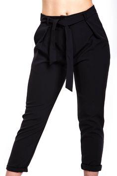 Pantalone a vita alta con fiocco