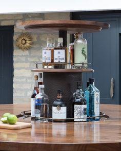 Walnut Gin Bar Gin Bar, Work Tops, Walnut Worktops, Work Hard, Liquor Cabinet, Canning, Storage, Designers, Clock
