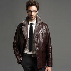 Men's Sheepskin Notched Collor Coat in Brown Color