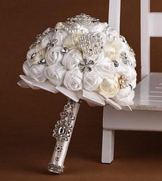 Wholesale Wedding Accessories - Buy Wedding Dresses Satin Wedding Bouquet Crystal Handmade Flowers Bouquets Bridal Wedding Flowers Bridal Bouquets Nine Kinds of Color Now, $41.89 | DHgate.com