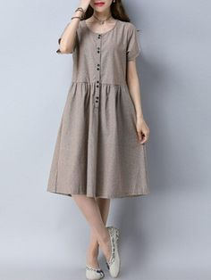 Casual Stripe Print Loose Button Short Sleeve O-neck Women Dress Specification: Sleeve Length:Short Sleeve Neckline:O-neck Color:Navy,Khaki Style:Casual,Fashion Length:Knee-length Pattern:Stripe Material:Cotton,Polyester Season:Summer Package included: Casual Summer Dresses, Simple Dresses, Cheap Dresses, Casual Dresses For Women, Women's Dresses, Dresses Online, Dress Casual, Knee Length Dresses, Short Sleeve Dresses