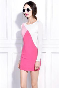 Contrast Color Pink Dress #Romwe