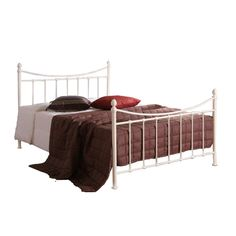 Victorian Style Double Ivory White Metal Bed Frame and Extreme 50 Memory Foam Mattress - FREE Delivery Bed Frame With Mattress, Upholstered Bed Frame, Mattress Mattress, Latex Mattress, Mattresses, White Metal Bed, Victorian Bed, Retro Bed, Luxury Bedroom Furniture
