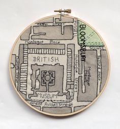 British Museum  Vintage London Map Embroidery by StitchCity, £20.00