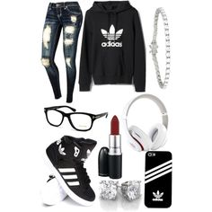 A fashion look from December 2014 featuring adidas hoodies, adidas sneakers and Tiffany & Co. bracelets. Browse and shop related looks.
