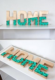 Add a festive touch to the family room or entryway with a set of custom letters, filled with felt flowers or succulents in the colors of your choice. Add a festive touch to the family room or entryway with a set of custom letters,. Cardboard Letters, Diy Letters, Letter A Crafts, Cardboard Crafts, Paper Crafts, Read Letters, Birthday Drawing, Home Crafts, Diy And Crafts