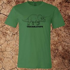 Men's Triceratops T-Shirt for $15 - Printed on Canvas brand t-shirts.  Over 20 colors and custom options available at www.myfavoritedinosaur.com